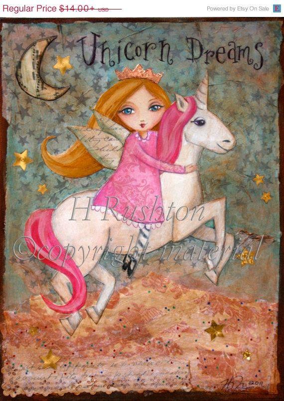 Holiday Sale Unicorn Decor Children's Decor Kids by HRushtonArt