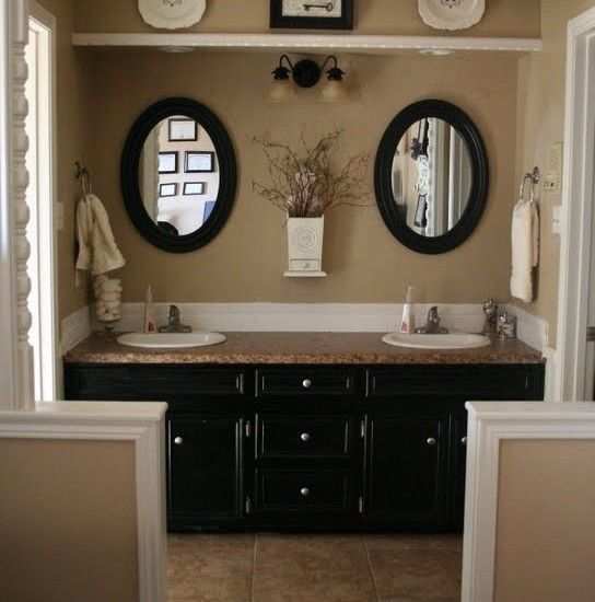 Black tan and white bathroom