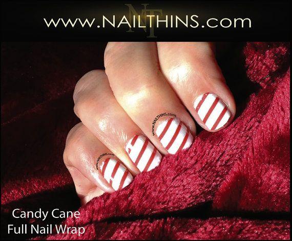 Candy Cane Nail Decal Christmas Full Nail Wrap Holiday Candy cane nail design  NAILTHINS