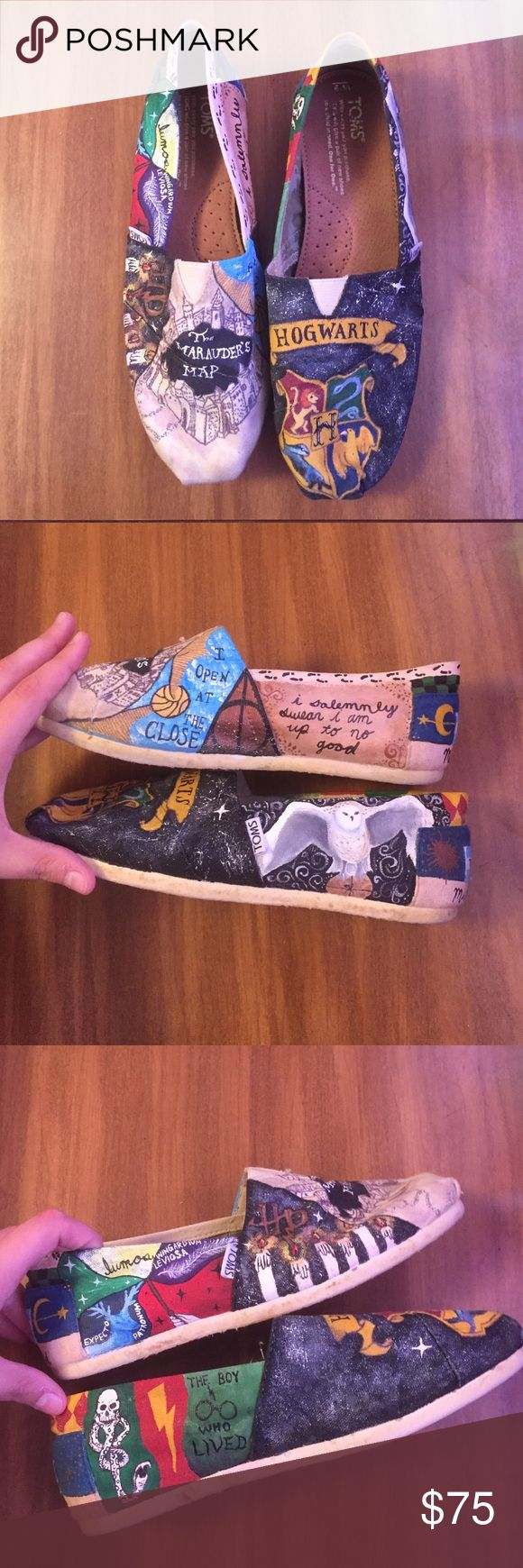 "HP 6/26 Style Obsessions Harry Potter TOMS I DID NOT MAKE THESE. I had them made for me. They are absolutely gorgeous ""natural"" canvas TOMS with hand painted Harry Potter designs. I only wore them once because they were just too beautiful for me to wear. They have been sprayed with clear spray paint to seal them but could be sprayed again. Light wear on soles and back of heels. Nothing major. I put a lot of money into these beauties and I hate to let them go but they need a home where…"