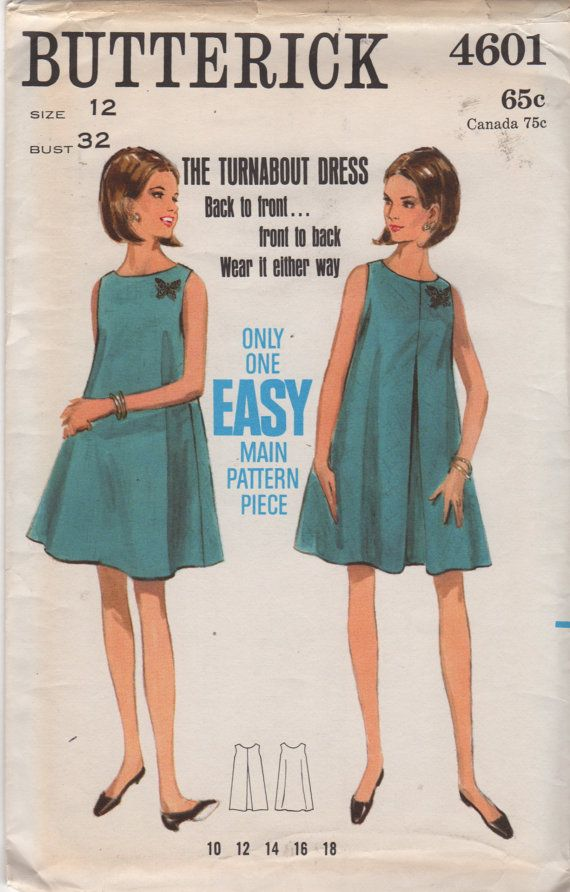 Butterick 4601  960s Misses Dress Pattern Easy TENT Turnabout Dress womens vintage sewing pattern  by mbchills on Etsy