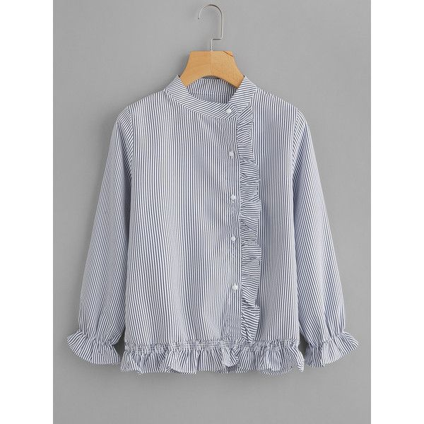 SheIn(sheinside) Vertical Striped Frill Trim Blouse ($15) ❤ liked on Polyvore featuring tops, blouses, blue, long sleeve ruffle blouse, striped blouse, long sleeve peplum blouse, blue blouse and button blouse
