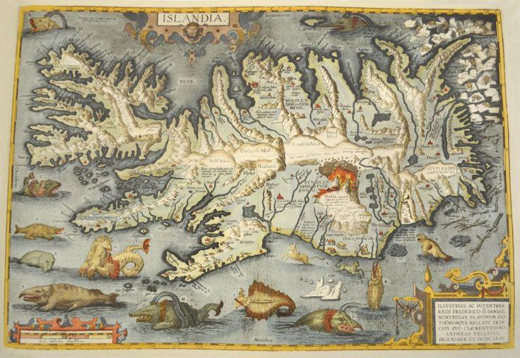 Old map of Iceland.  Carte ancienne de l'Islande.