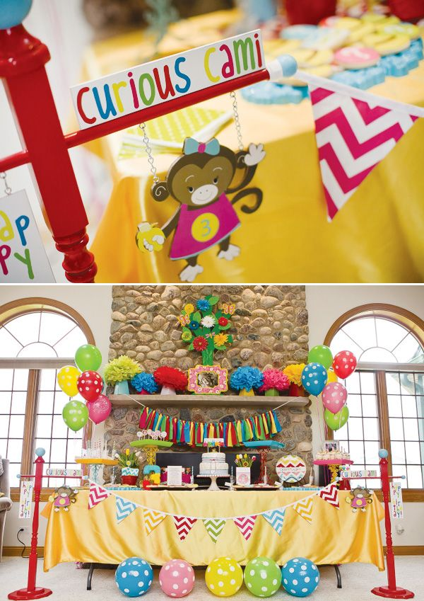 """Curious Cami"" {Curious George Birthday Party}: Curious George Birthday, Monkey Theme Parties, Little Girls Birthday, Bright Color, Girls Birthday Parties, George Parties, Parties Ideas, Color Birthday, Modern Curious"