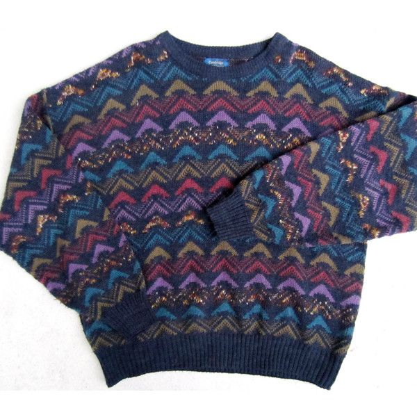Ugly Christmas Sweater, Tacky Gaudy Cosby Triangles Pullover Nerd Geek... (1.440 RUB) ❤ liked on Polyvore featuring mens, men's clothing, men's sweaters, tops, sweaters, jumpers and shirts