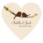 Wedding Stickers - Wedding Labels - Love Bird Heart Sticker (4 Colors)