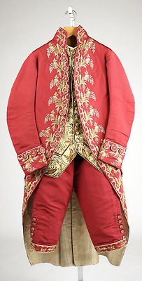 Fripperies and Fobs: Archive - Silk Suit - British - c, 1775 - 80 Front view