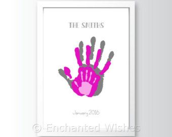 Family Handprint Art Print, Hand print, Child, Baby, Personalised, Baby handprint, Child Handprint, Family print, Handprint art (unframed)