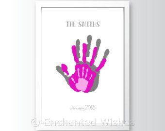 LOVE Handprint Footprint Art Print Hand print von EnchantedWishesUK