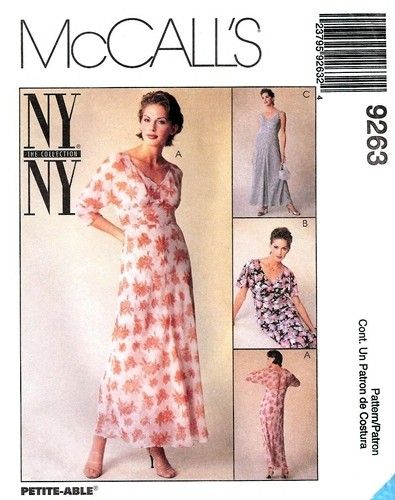McCall's 9263 Flowy Empire Dress & Slip 1998