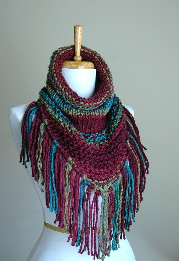 Chunky Knit Fringe Scarf Cowl Triangle Scarf in Jewel by PhylPhil, $39.99