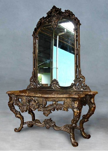 french baroque louis xiv style 110 inch marble topped entry console and mirror natural wood. Black Bedroom Furniture Sets. Home Design Ideas