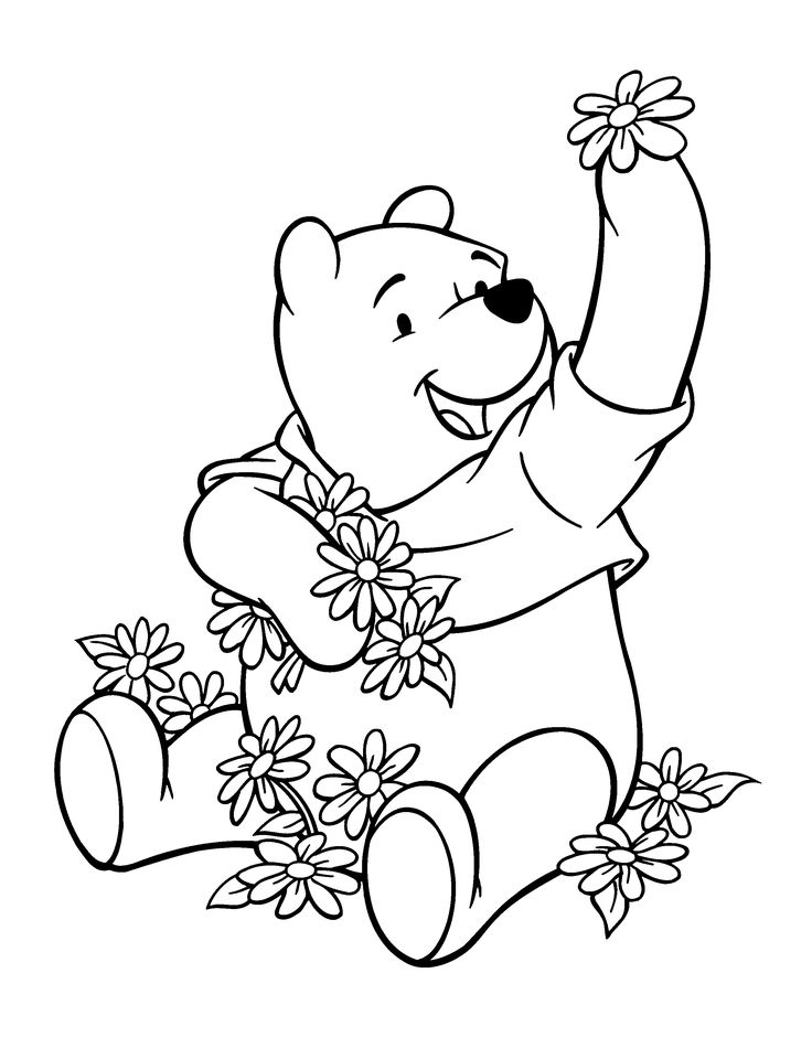 winnie the pooh hold flowers - Coloring Pictures Of Cartoon Characters