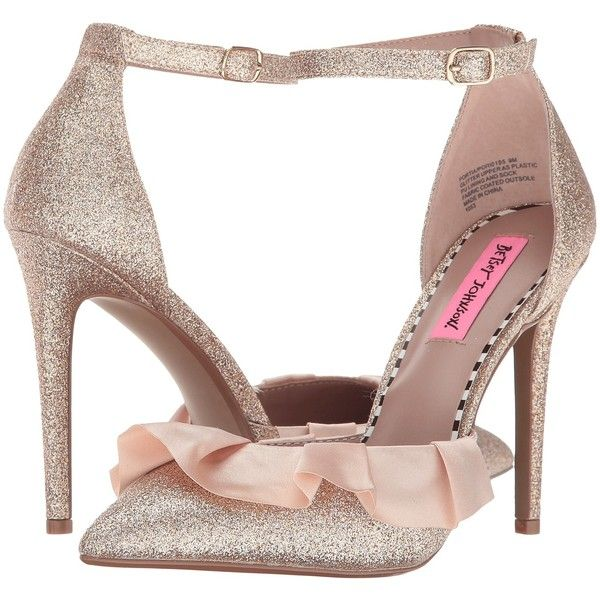 Betsey Johnson Portia (Champagne Glitter) High Heels ($45) ❤ liked on Polyvore featuring shoes, sandals, gold, gold sandals, gold glitter shoes, off white sandals, champagne glitter shoes and champagne sandals