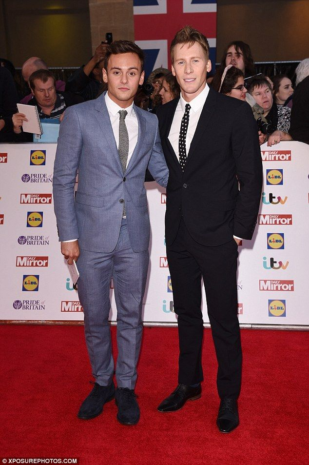 Engaged: Tom Daley and his boyfriend Dustin Lance Black, pictured here at Monday night's Pride Of Britain Awards, have announced that they are engaged