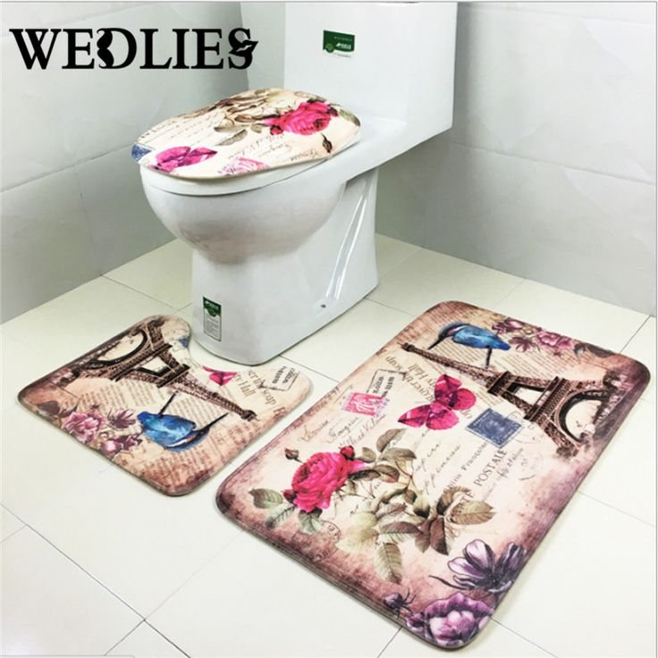 Bathroom Carpet Toilet Rug 3Pcs/Set Eiffel Tower Non Slip Lid Mat Cute  Toilet