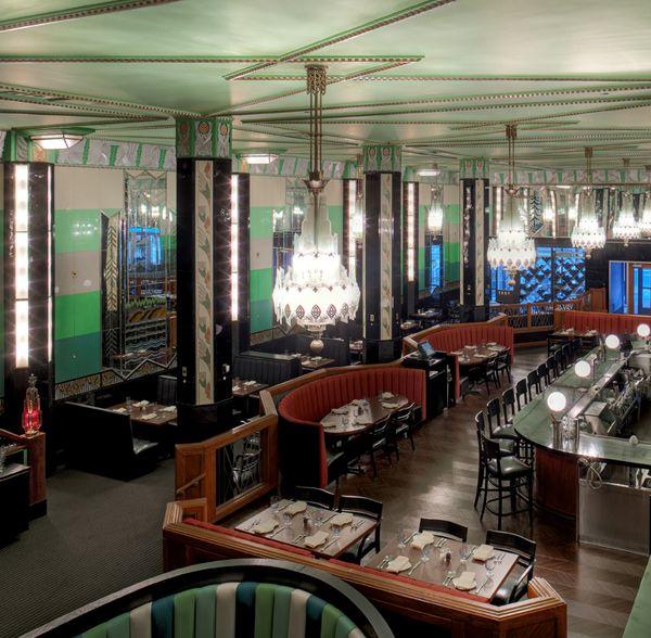 The Forum Restaurant's restored 1929 Art Deco interior.