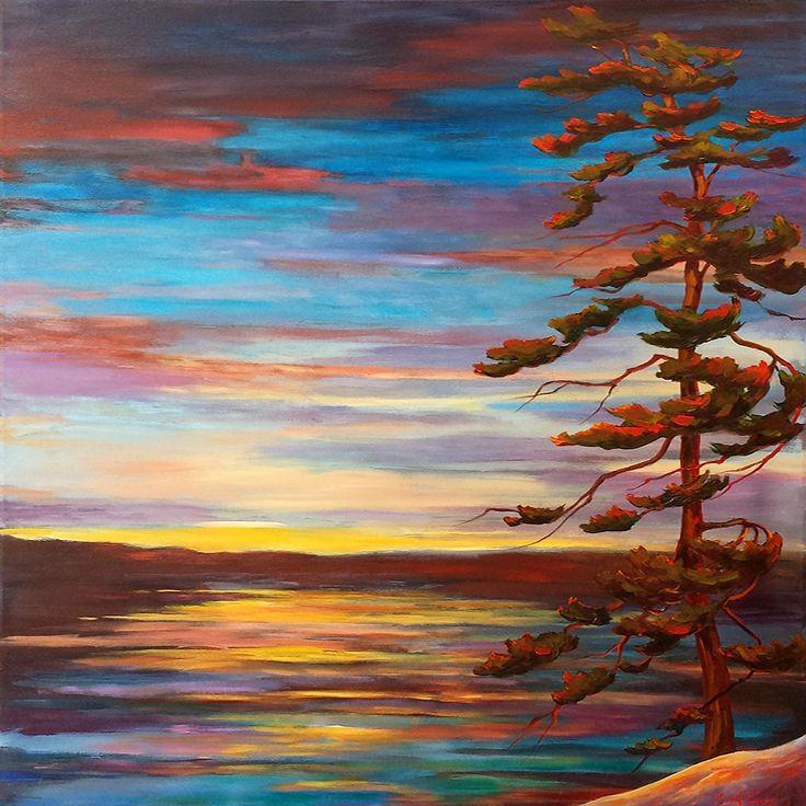 Algonquin Sunset par Micheal  Foers, artiste présentement exposé aux Galeries Beauchamp. www.galeriebeauchamp.com