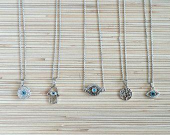 Mano hamsa plata pequeño mal ojo collar árbol de la vida delicado collar de la joyería minimalista delicada capas collar