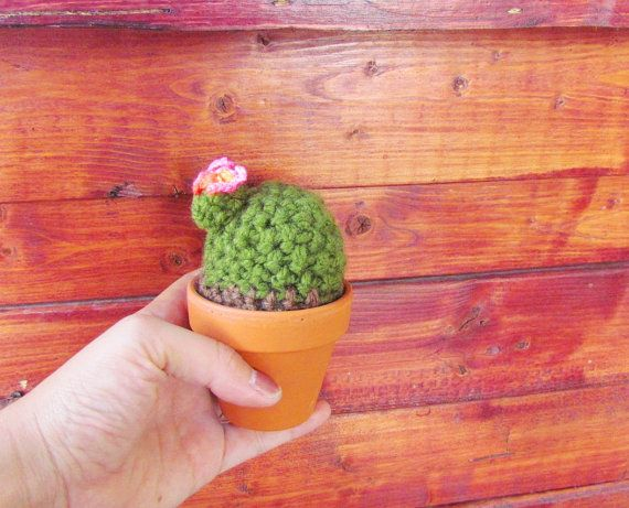 amigurumi crocheted cactus with little flower on Etsy, $7.00