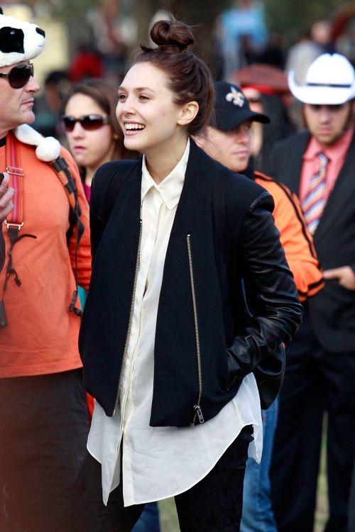 Elizabeth Olsen. Leather and Wool mix Bomber Jacket