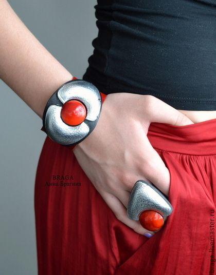 Polymer clay jewelry set: bracelet + ring