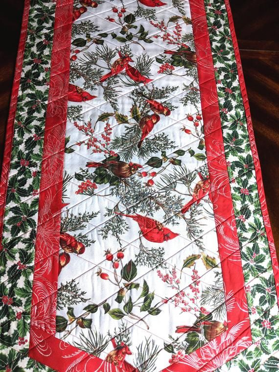 Quilted Christmas Table Runner ,Cardinals Holly Chickadees