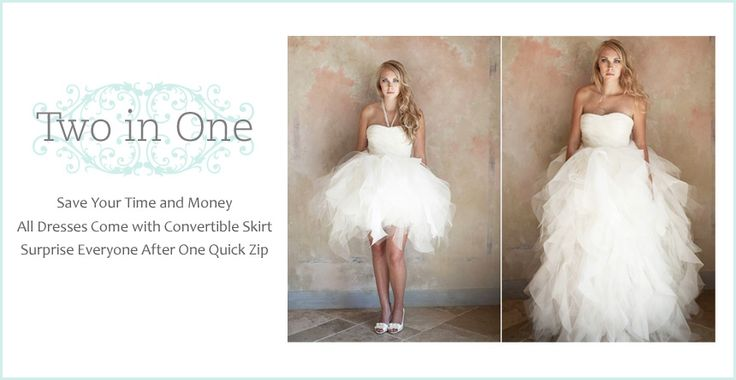 2 in 1 Wedding Dresses with Convertible Skirt, Detachable Train or Removable Straps awwww it's so farm cute for wedding pics!!! :)