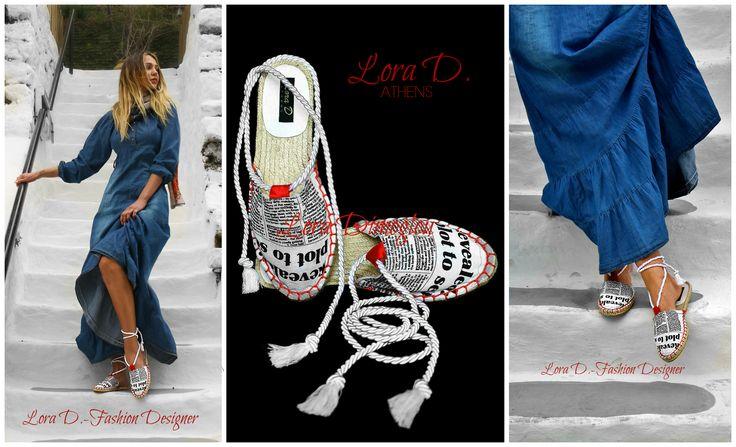 'Τα Νέα σήμερα'' Νέο προιόν από την Lora Dimoglou - Fashion Designer. Espadrilles χειροποίητες και σχεδιασμένες από την ίδια πολλά και μοναδικά σχέδια και χρώματα ,για να ομορφύνουν και να χρωματίσουν την Άνοιξη και το Καλοκαίρι σας! Θα τα βρείτε με παραγγελία από την ίδια στο τηλέφωνο ή στο ινμποξ της σελίδας https://www.facebook.com/Lora.Dimoglou/ και τώρα σε αποκλειστικότητα και στο κατάστημα της Μυκόνου Mykonos Sandals www.facebook.com/... Espadrilles handmade by : Lora Dimoglou