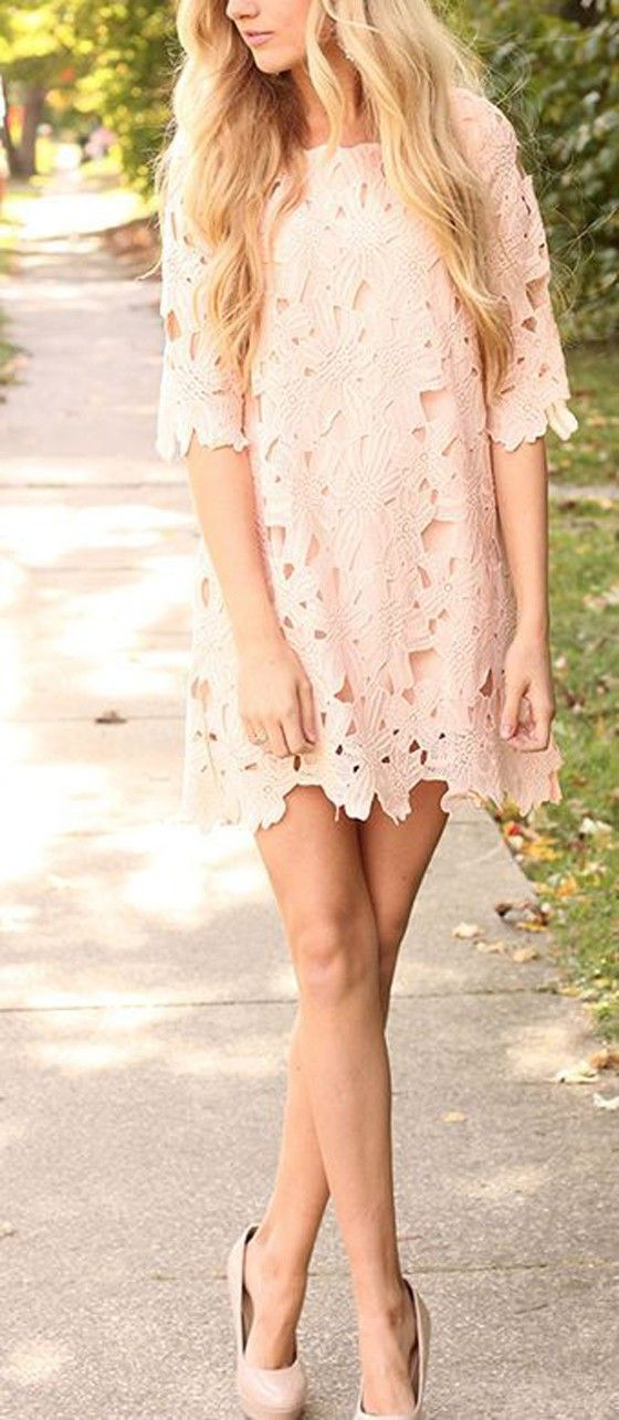 Pale Pink Lace Hollow-out Elbow Sleeve Chiffon Dress #Love_Pink #Pale #Pink #Floral #Lace #Midi #Dresses #Sexy #Heels #Spring #Outfit #Ideas #Fashion
