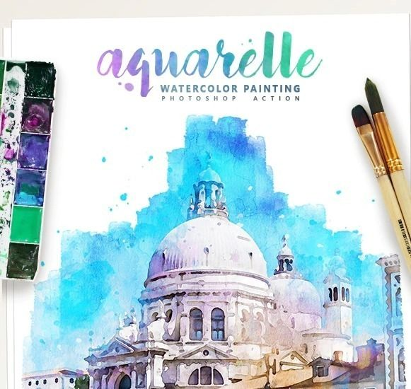Aquarelle Watercolor Painting Photoshop Action Watercolor