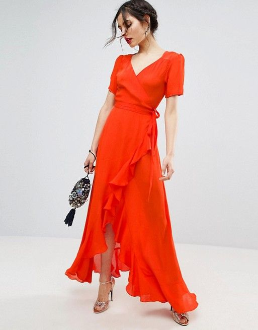 ASOS Tea Dress Maxi with Ruffle Detail and Open Back $68.00