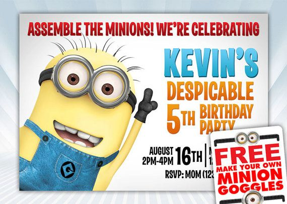 Despicable Me Minions Birthday Invitation  FREE by DigiPartyShoppe, $6.00