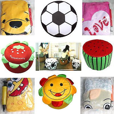 Inflatable Air Seat Foot Rest Stool Comfortable Kids Children Gift Toy W/ Pump