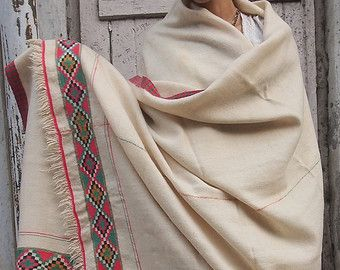 XMAS SALE Antique Tribal Throw Blanket With Embroidery by Hanamer