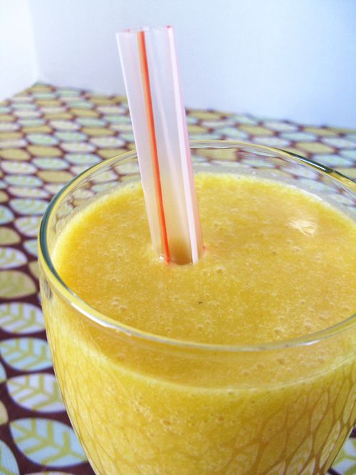 Turmeric Smoothie-makes 2 medium smoothies or one large     1 ripe banana   1/2 cup frozen mango chunks   1 cup orange juice   1 tablespoon coconut oil   fresh grated ginger (size of a small grape)   1/2 teaspoon turmeric powder     1/4 cup coconut milk (canned)   1/2 cup water