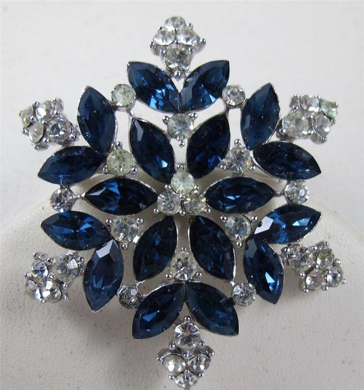 Vtg Crown Trifari Sapphire Blue Clear Rhinestone Brooch Pin Snowflake Design   eBay