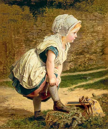 Wait for Me! (Returning Home from School - Sophie Anderson as art print or hand painted oil.