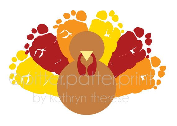 Thanksgiving Decoration Turkey Baby Footprint by PitterPatterPrint