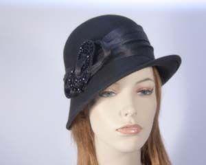 Black winter fashion cloche hat for races buy online in Australia F558B