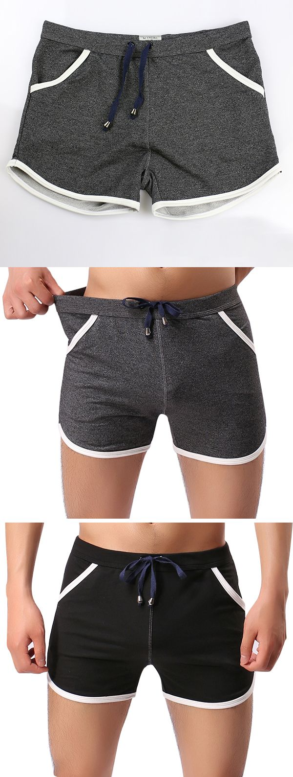 Casual Boxers Underwear for Men : Sexy Patchwork / Drawstring Cotton