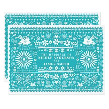 Mexican Picado Cut Turquoise Teal Wedding Marriage Card - marriage invitations wedding party cards invitation