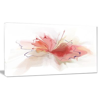 DesignArt 'Pink Watercolor Flower Sketch' Painting Print on Wrapped Canvas Size: