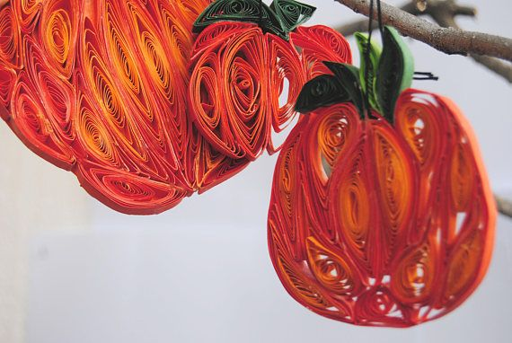 Set of 3 Quilled Halloween Pumpkin ornaments Paper Pumpkin