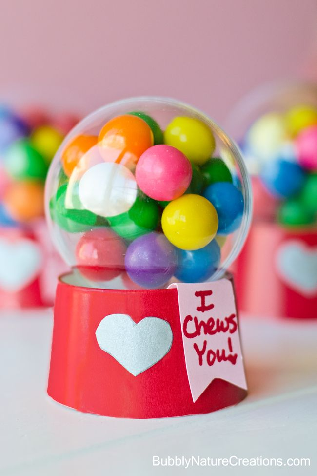Mini Bubblegum Machine Valentines! Made with a paper cup and a plastic ball ornament.  Super cute!
