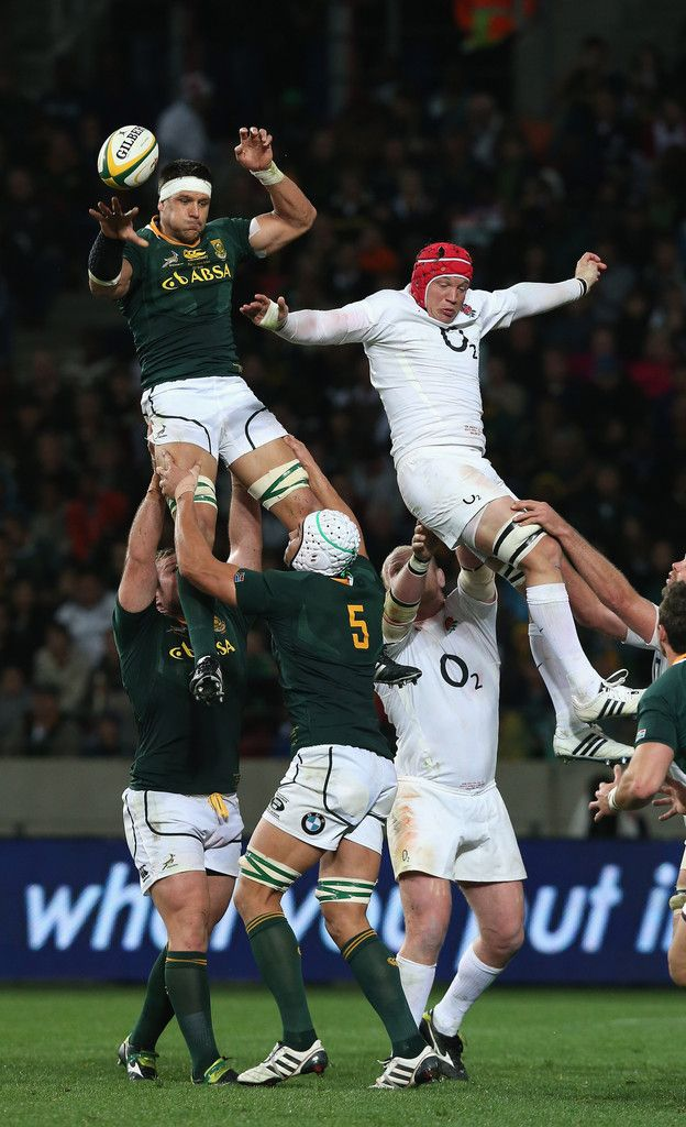 Pierre Spies of South Africa outjumps Tom Johnson in the lineout during the third test match between the South Africa Springboks and England at the Nelson Mandela Bay Stadium on June 23, 2012 in Port Elizabeth, South Africa.