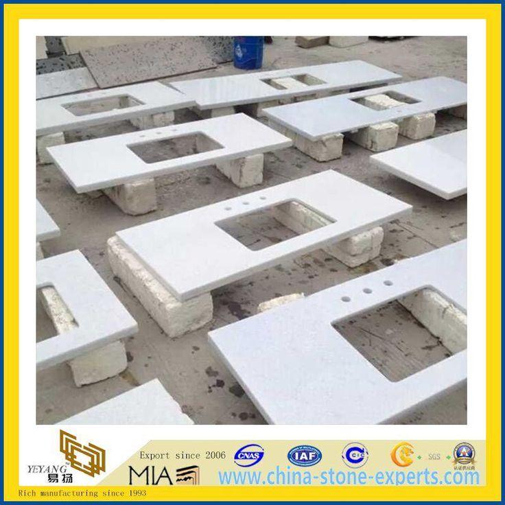 China White Man Made Quartz Vanity Tops(YQA QC1005)
