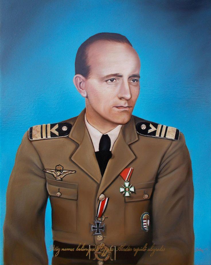 Vitéz nemes belényesi Heppes Aladár repülő alezredes portréja 40x50 cm-es olajfestmény