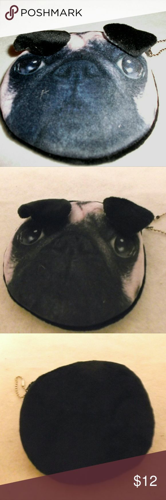 "Cute Pug Dog Mini Pouch Coin Purse New without tags!  A super cute Pug mini pouch coin purse.   Measures approximately 4.5"" X 4"". Very soft and plush with a white lining.   Be sure to check out the adorable Pug necklace! Bags Mini Bags"