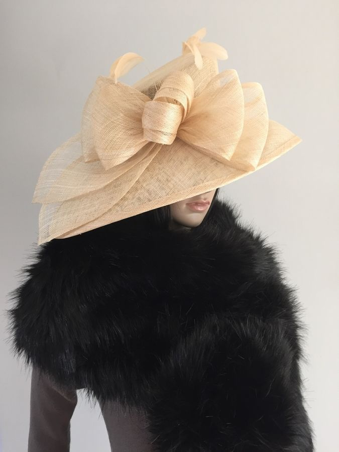f6373589ad8 Suzanne Bettley CHAMPAGNE WEDDING Hat Occasion Mother Of The Bride SINAMAY  CHAMPAGNE WEDDING Suzanne
